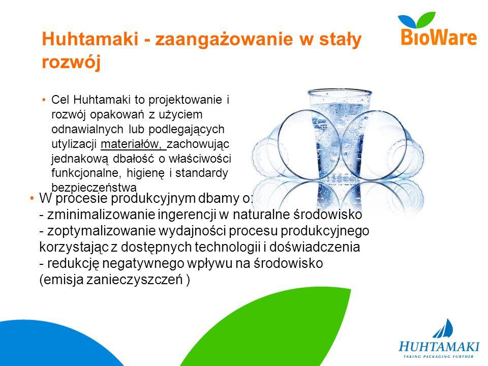 Huhtamaki - zaangażowanie w stały rozwój Cel Huhtamaki to projektowanie i rozwój opakowań z użyciem odnawialnych lub podlegających utylizacji materiał