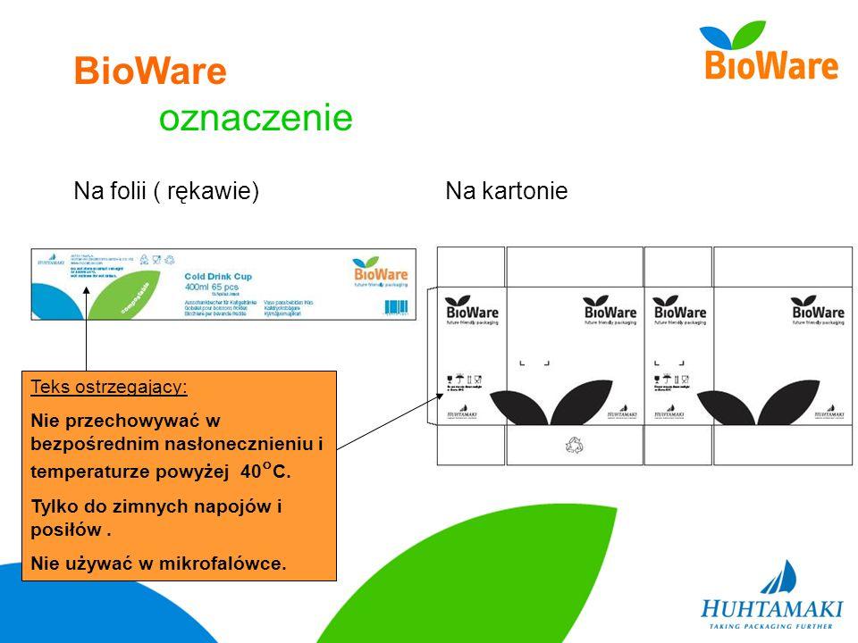 BioWare oznaczenie Na folii ( rękawie)Na kartonie Teks ostrzegający: Nie przechowywać w bezpośrednim nasłonecznieniu i temperaturze powyżej 40 C. Tylk