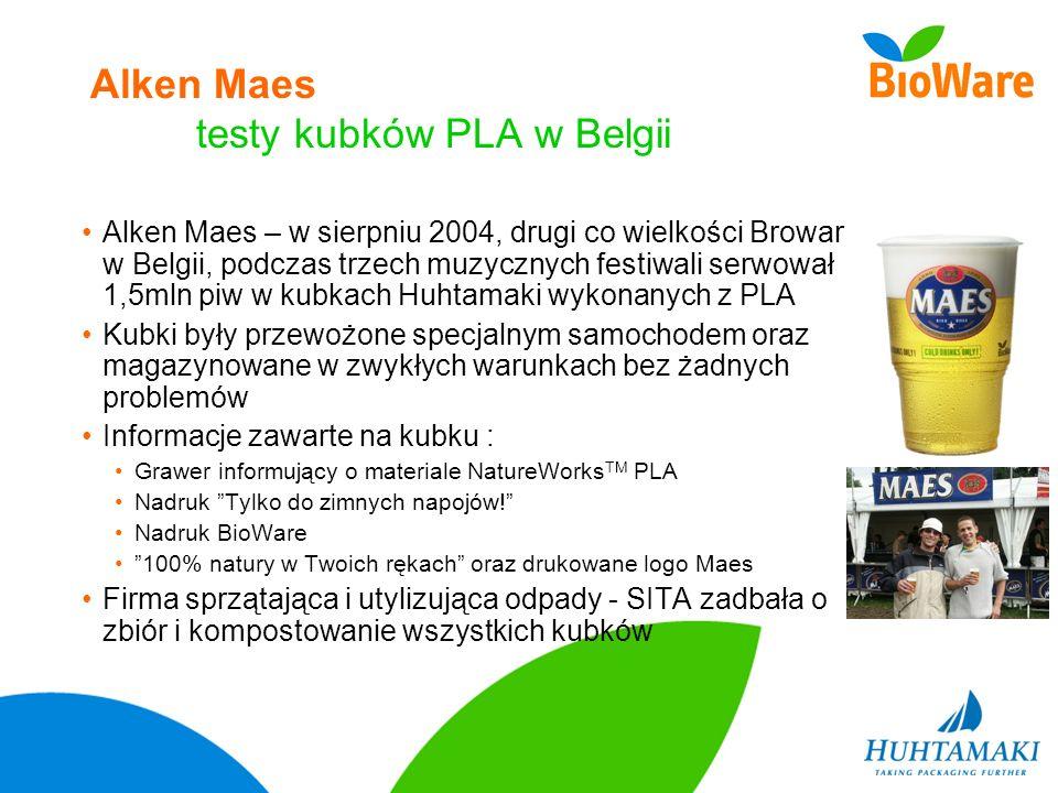 Alken Maes testy kubków PLA w Belgii Alken Maes – w sierpniu 2004, drugi co wielkości Browar w Belgii, podczas trzech muzycznych festiwali serwował 1,