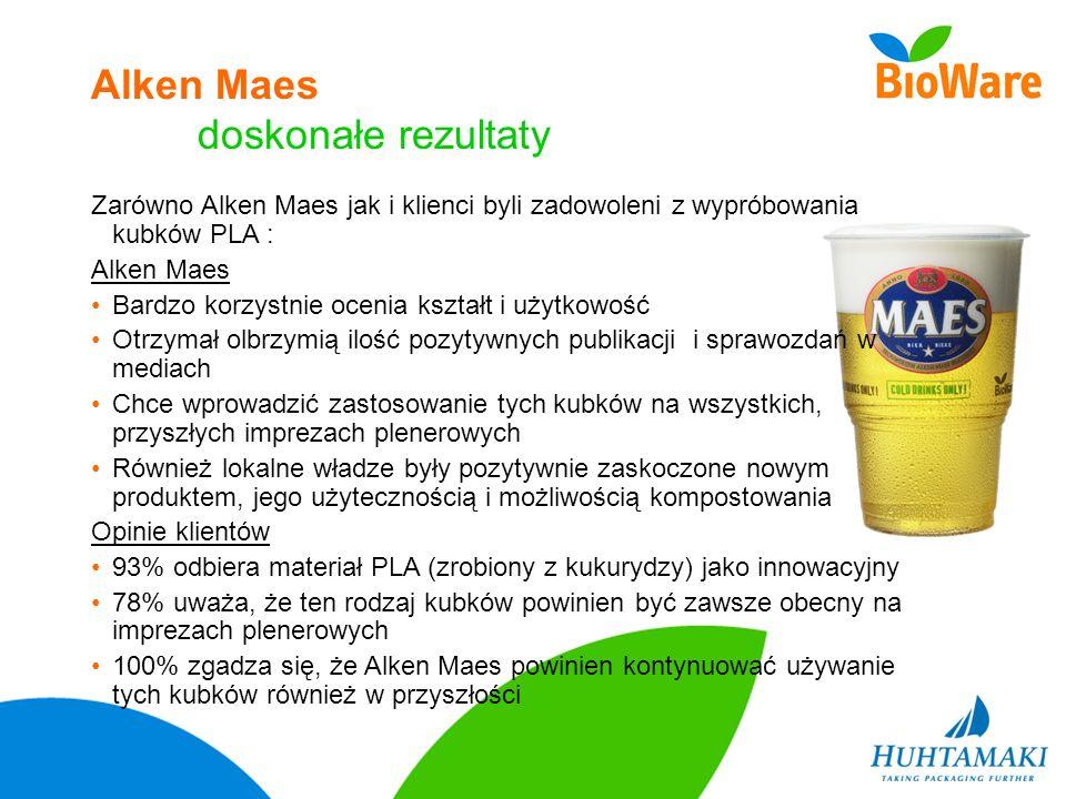 Alken Maes doskonałe rezultaty Zarówno Alken Maes jak i klienci byli zadowoleni z wypróbowania kubków PLA : Alken Maes Bardzo korzystnie ocenia kształ