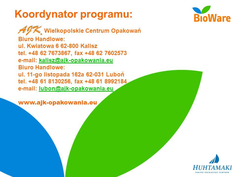 Koordynator programu: Wielkopolskie Centrum Opakowań Biuro Handlowe: ul. Kwiatowa 6 62-800 Kalisz tel. +48 62 7673867, fax +48 62 7602573 e-mail: kali