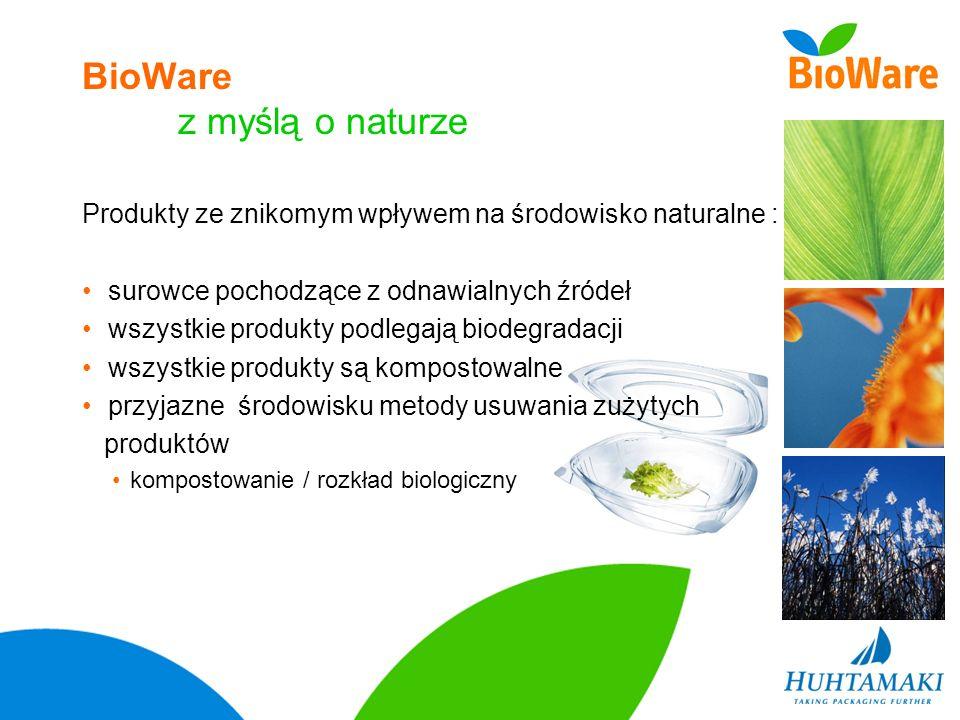 BioWare z myślą o naturze Produkty ze znikomym wpływem na środowisko naturalne : surowce pochodzące z odnawialnych źródeł wszystkie produkty podlegają