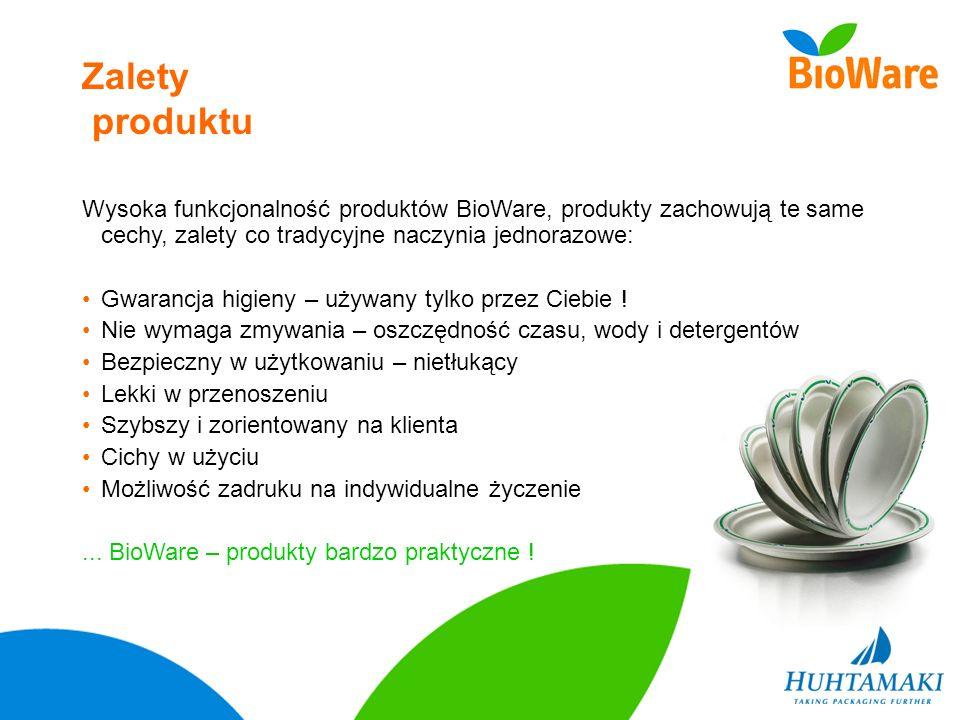 Zalety produktu Wysoka funkcjonalność produktów BioWare, produkty zachowują te same cechy, zalety co tradycyjne naczynia jednorazowe: Gwarancja higien