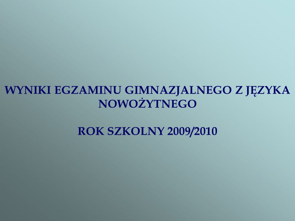 WYNIKI EGZAMINU GIMNAZJALNEGO Z JĘZYKA NOWOŻYTNEGO ROK SZKOLNY 2009/2010