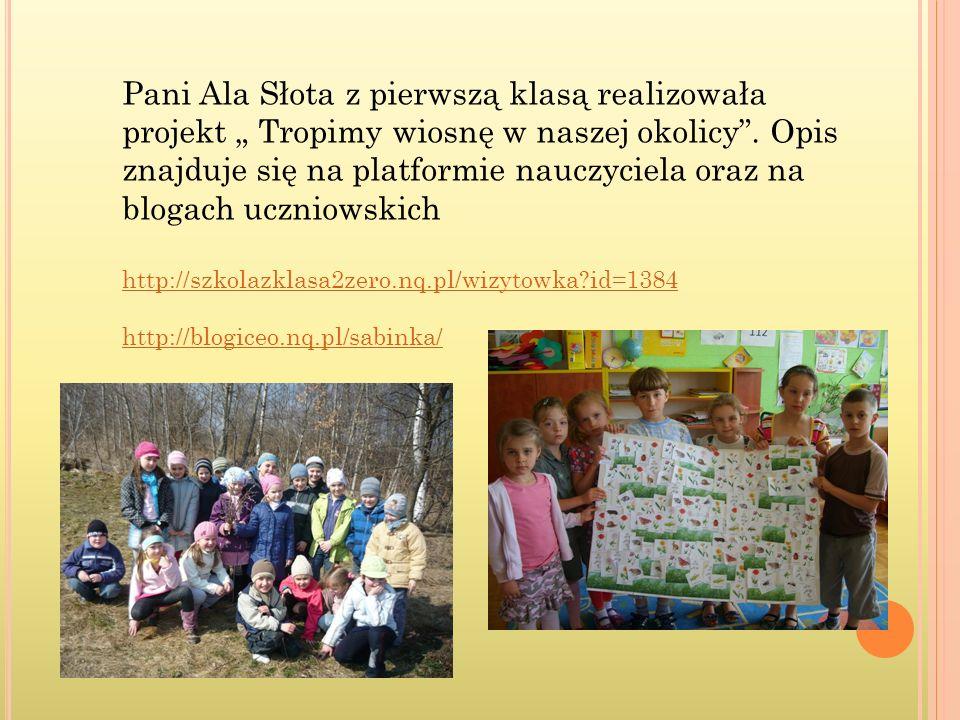 Pani Ala Słota z pierwszą klasą realizowała projekt Tropimy wiosnę w naszej okolicy. Opis znajduje się na platformie nauczyciela oraz na blogach uczni