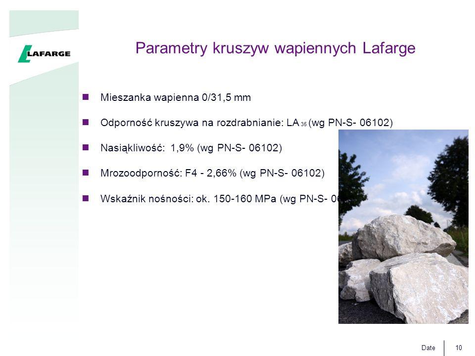 Date10 Parametry kruszyw wapiennych Lafarge Mieszanka wapienna 0/31,5 mm Odporność kruszywa na rozdrabnianie: LA 35 (wg PN-S- 06102) Nasiąkliwość: 1,9