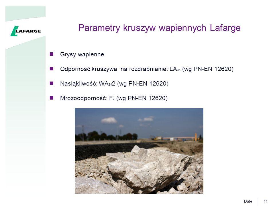 Date11 Parametry kruszyw wapiennych Lafarge Grysy wapienne Odporność kruszywa na rozdrabnianie: LA 35 (wg PN-EN 12620) Nasiąkliwość: WA 24 2 (wg PN-EN