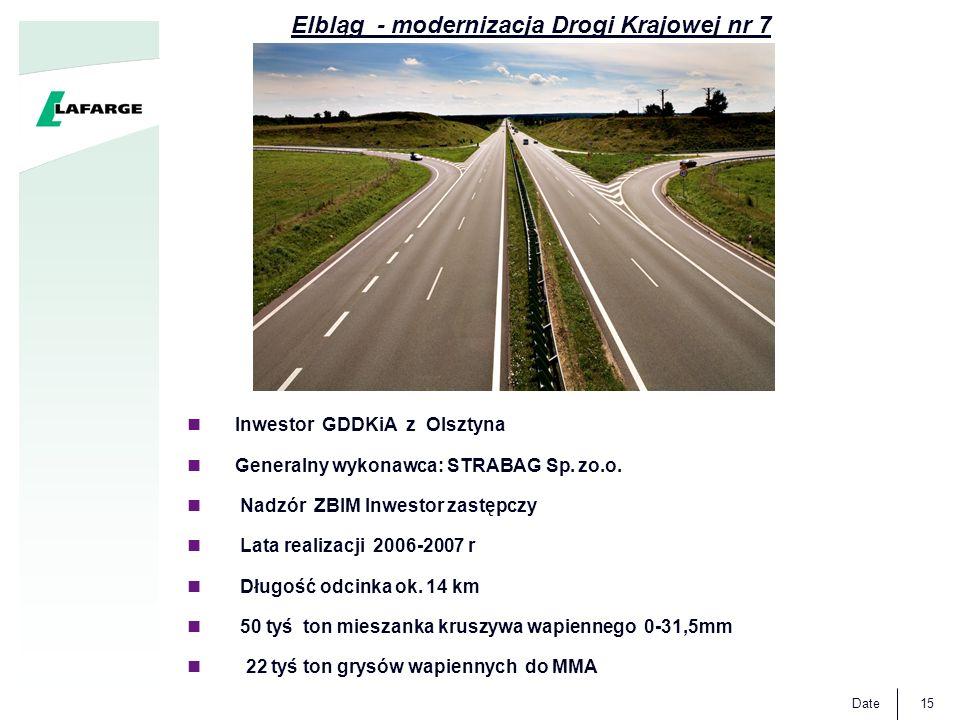 Date15 Inwestor GDDKiA z Olsztyna Generalny wykonawca: STRABAG Sp. zo.o. Nadzór ZBIM Inwestor zastępczy Lata realizacji 2006-2007 r Długość odcinka ok