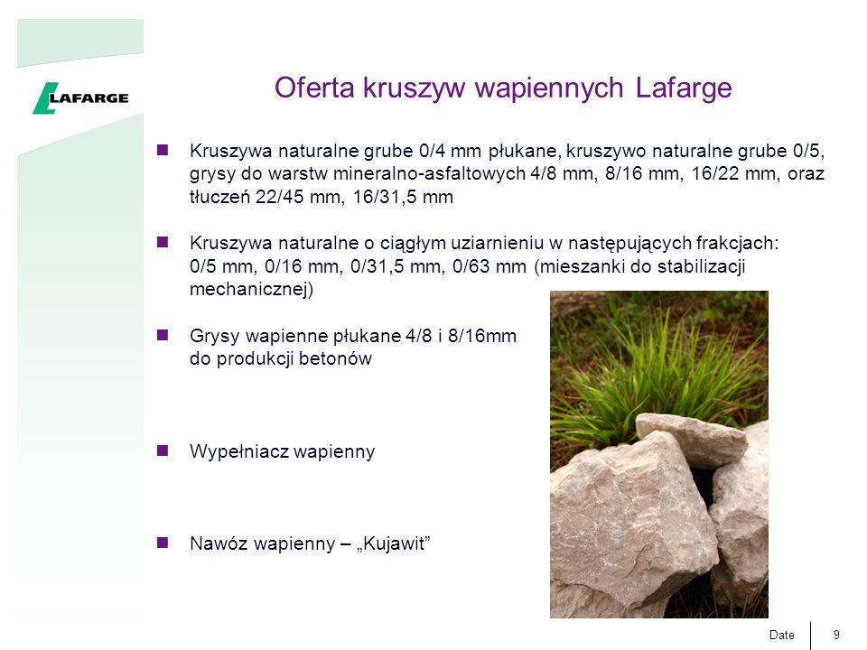Date9 Oferta kruszyw wapiennych Lafarge Kruszywa naturalne grube 0/4 mm płukane, kruszywo naturalne grube 0/5, grysy do warstw mineralno-asfaltowych 4