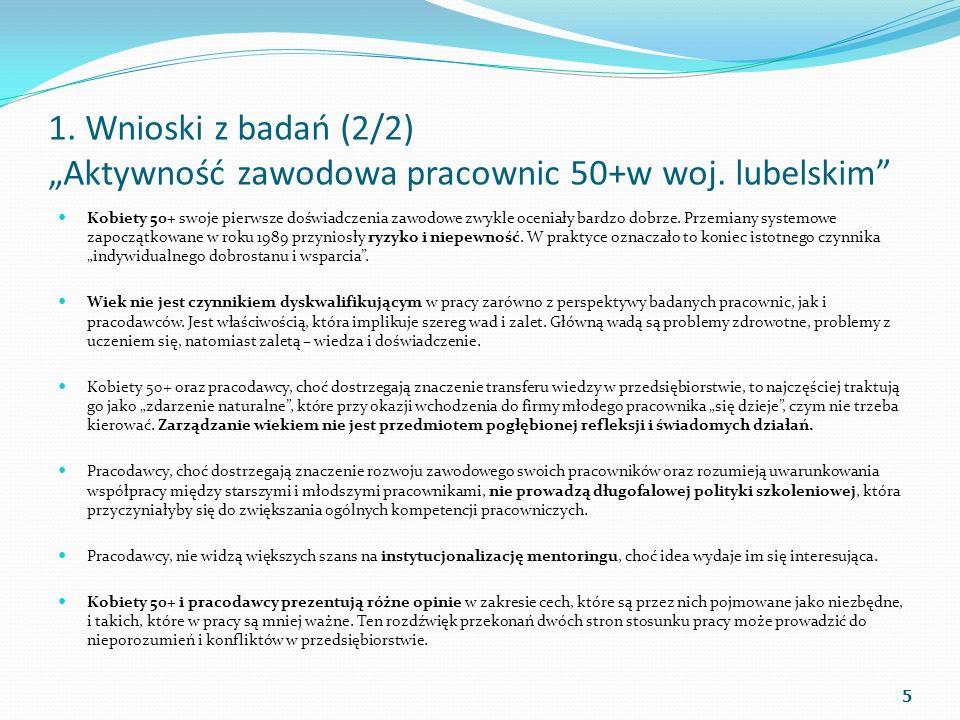 1. Wnioski z badań (2/2) Aktywność zawodowa pracownic 50+w woj. lubelskim Kobiety 50+ swoje pierwsze doświadczenia zawodowe zwykle oceniały bardzo dob