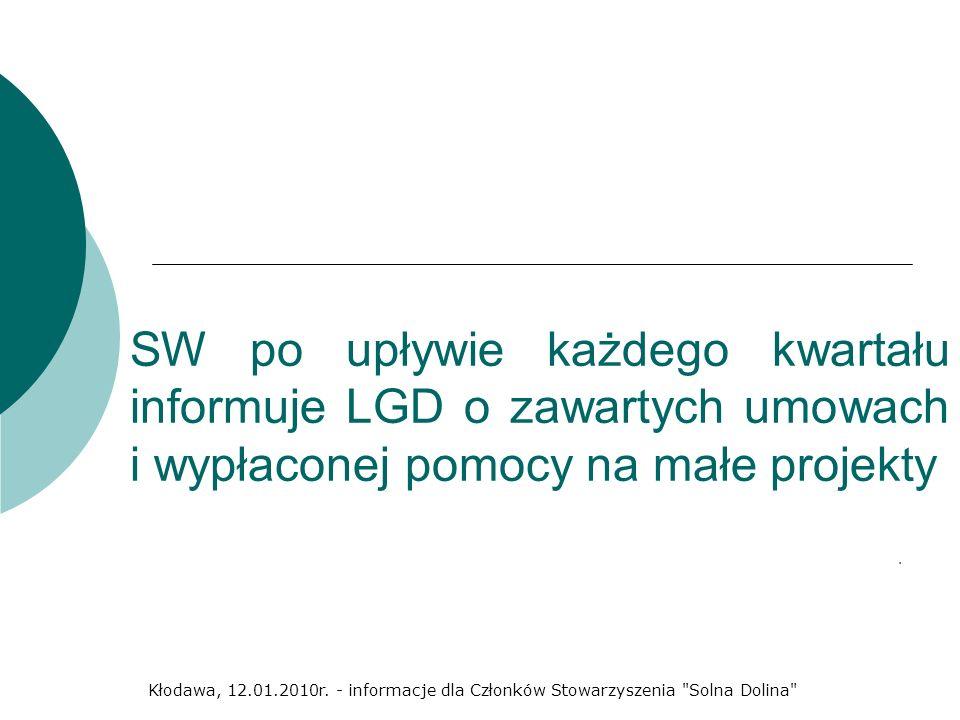 SW po upływie każdego kwartału informuje LGD o zawartych umowach i wypłaconej pomocy na małe projekty. Kłodawa, 12.01.2010r. - informacje dla Członków
