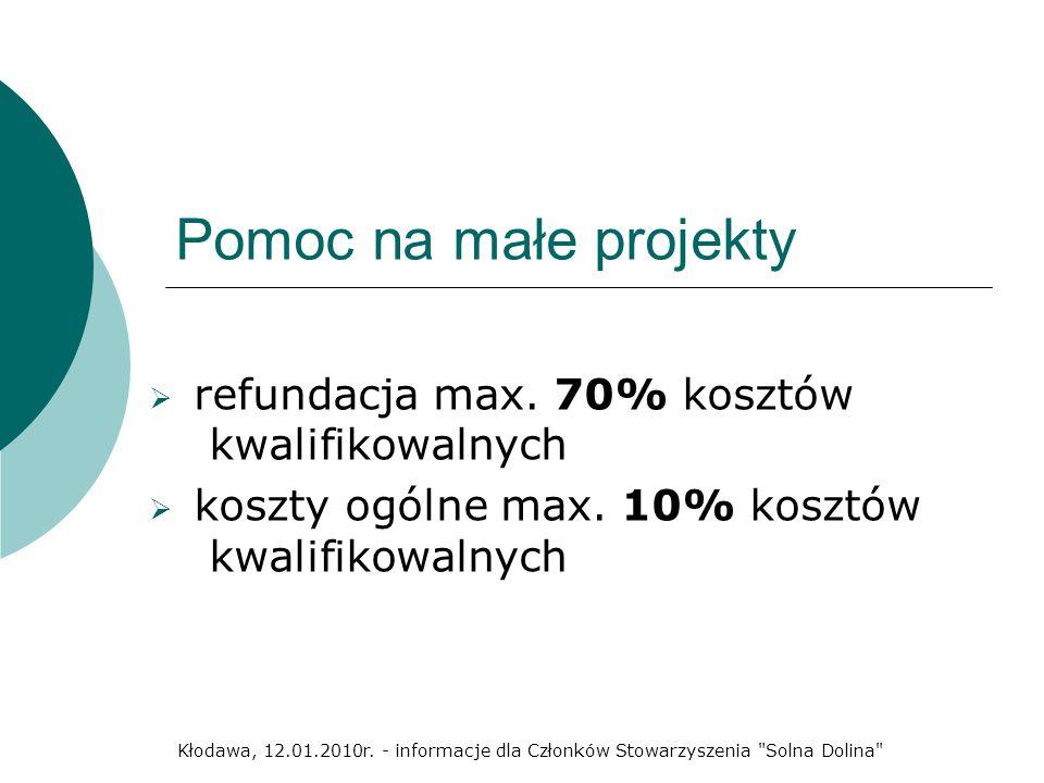 Pomoc na małe projekty refundacja max. 70% kosztów kwalifikowalnych koszty ogólne max. 10% kosztów kwalifikowalnych Kłodawa, 12.01.2010r. - informacje
