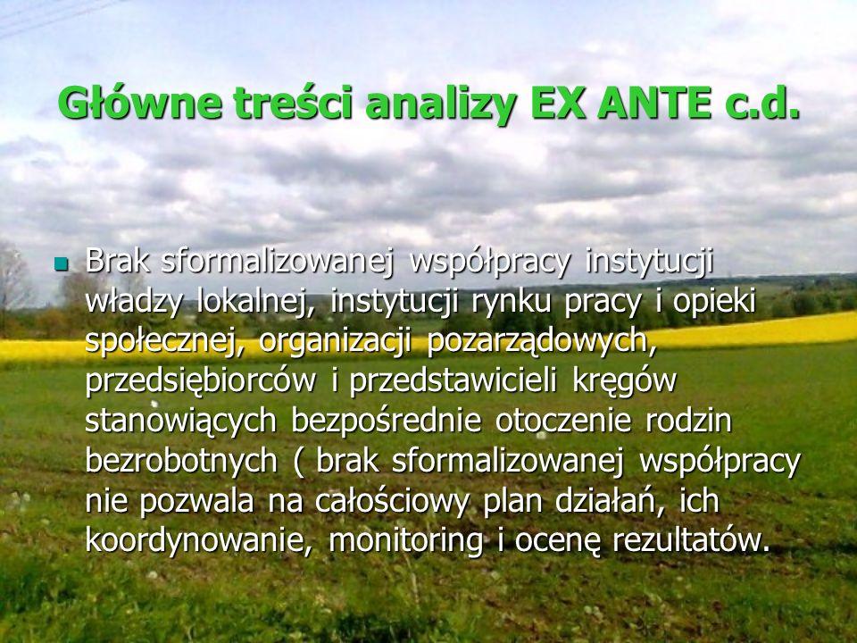 Główne treści analizy EX ANTE c.d. Brak sformalizowanej współpracy instytucji władzy lokalnej, instytucji rynku pracy i opieki społecznej, organizacji