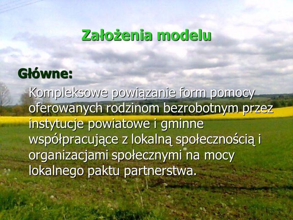 Założenia modelu Główne: Kompleksowe powiązanie form pomocy oferowanych rodzinom bezrobotnym przez instytucje powiatowe i gminne współpracujące z loka