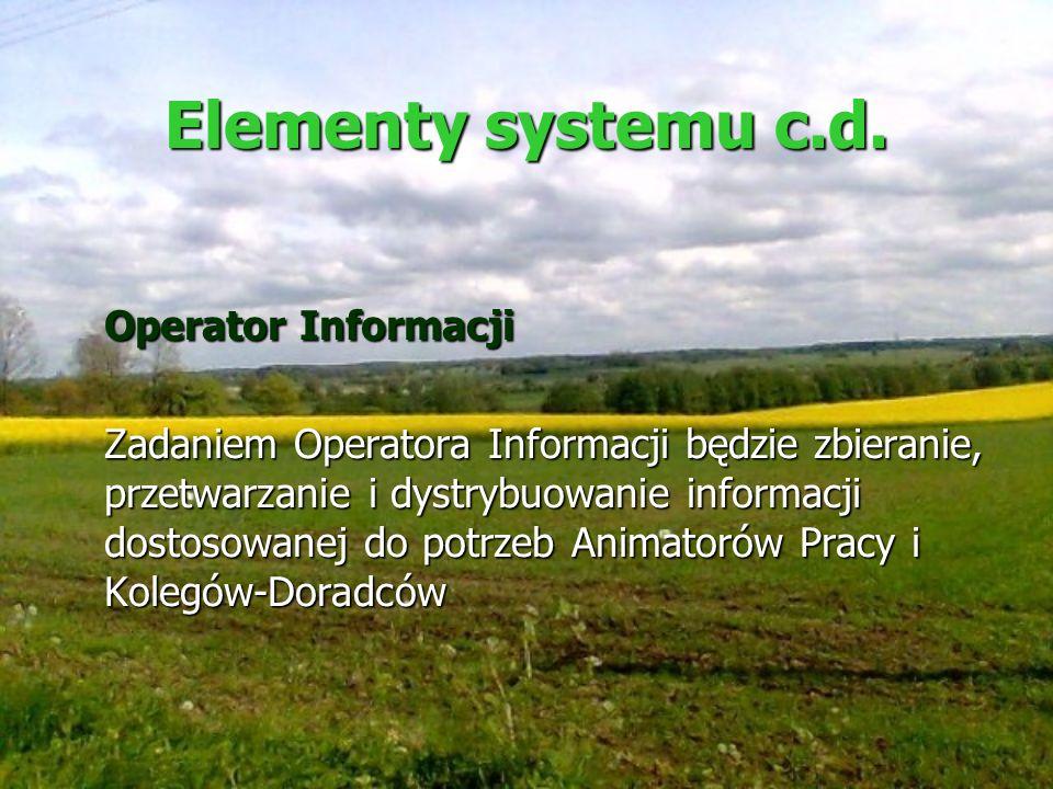 Elementy systemu c.d. Operator Informacji Zadaniem Operatora Informacji będzie zbieranie, przetwarzanie i dystrybuowanie informacji dostosowanej do po