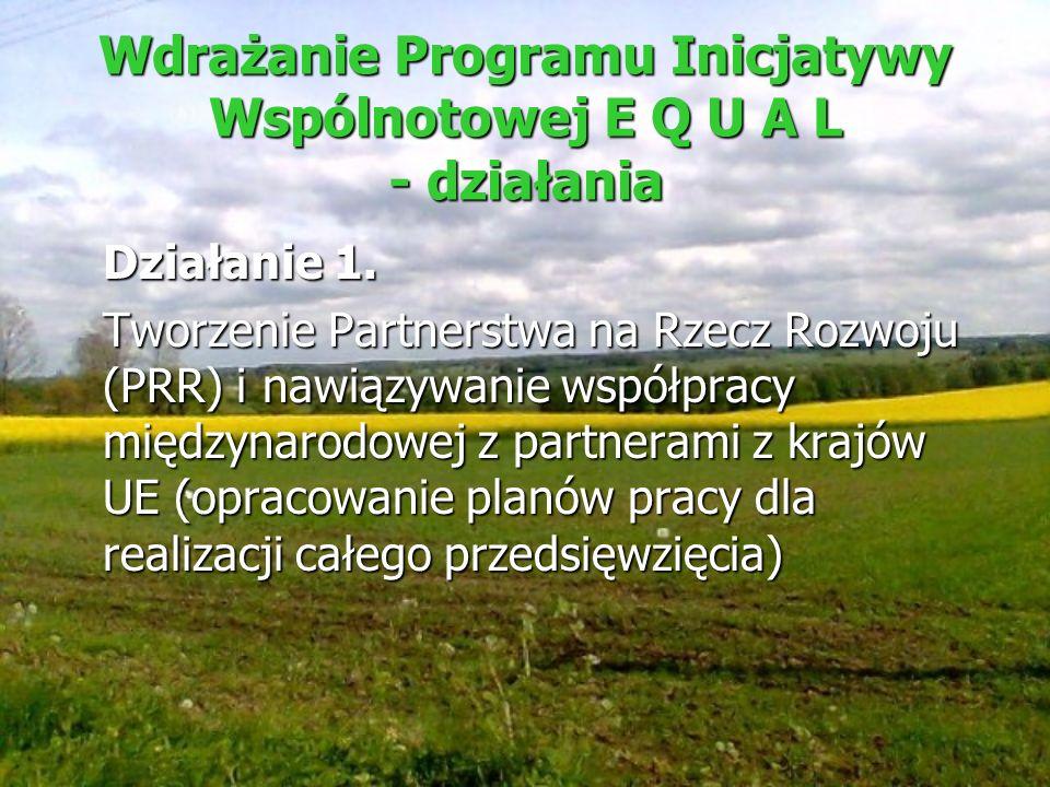 Wdrażanie Programu Inicjatywy Wspólnotowej E Q U A L - działania Działanie 1. Tworzenie Partnerstwa na Rzecz Rozwoju (PRR) i nawiązywanie współpracy m
