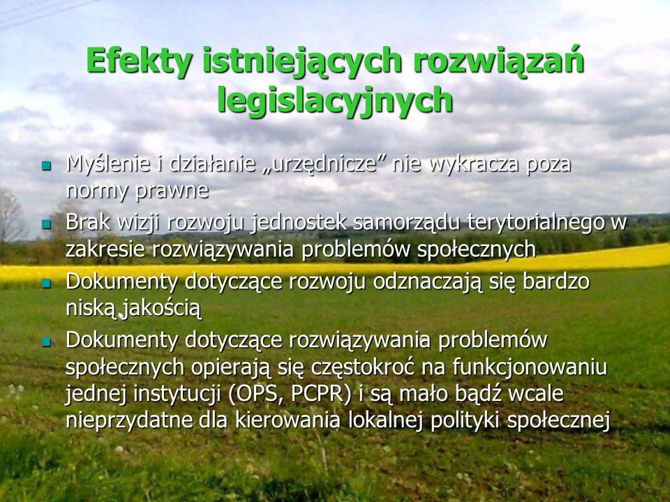 Efekty istniejących rozwiązań legislacyjnych Myślenie i działanie urzędnicze nie wykracza poza normy prawne Myślenie i działanie urzędnicze nie wykrac
