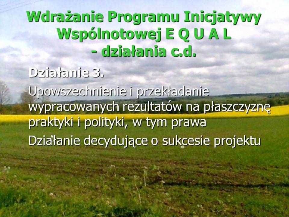 Wdrażanie Programu Inicjatywy Wspólnotowej E Q U A L - działania c.d. Działanie 3. Upowszechnienie i przekładanie wypracowanych rezultatów na płaszczy