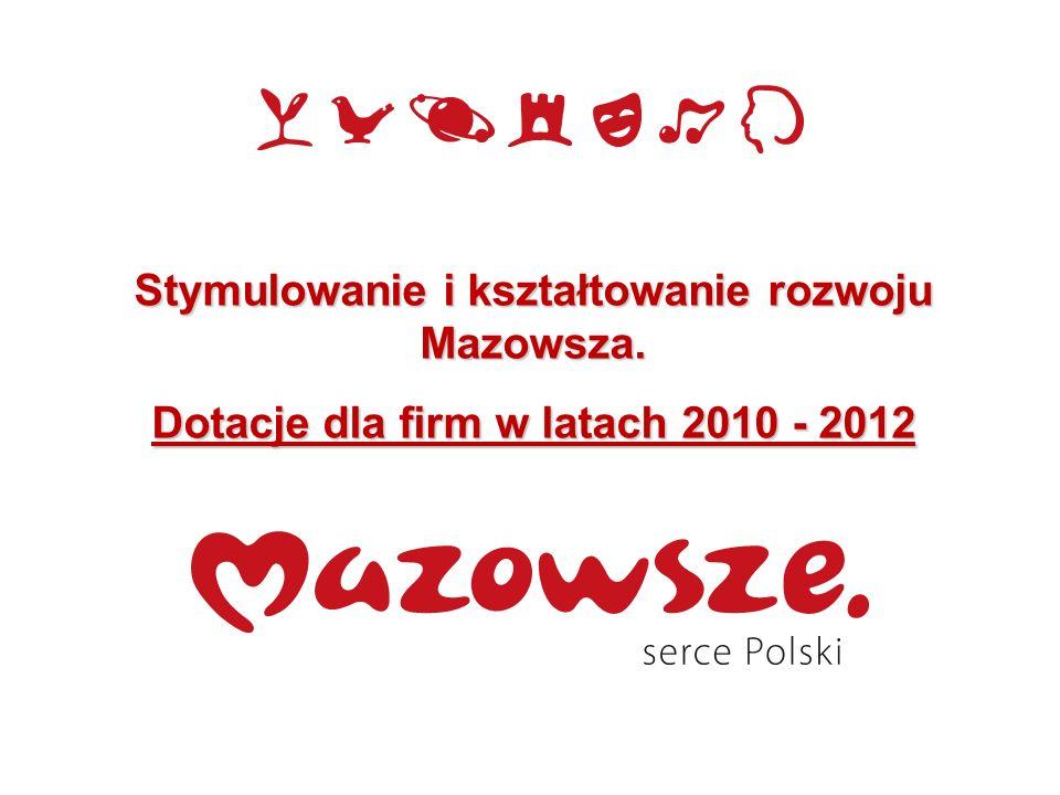 Stymulowanie i kształtowanie rozwoju Mazowsza. Dotacje dla firm w latach 2010 - 2012
