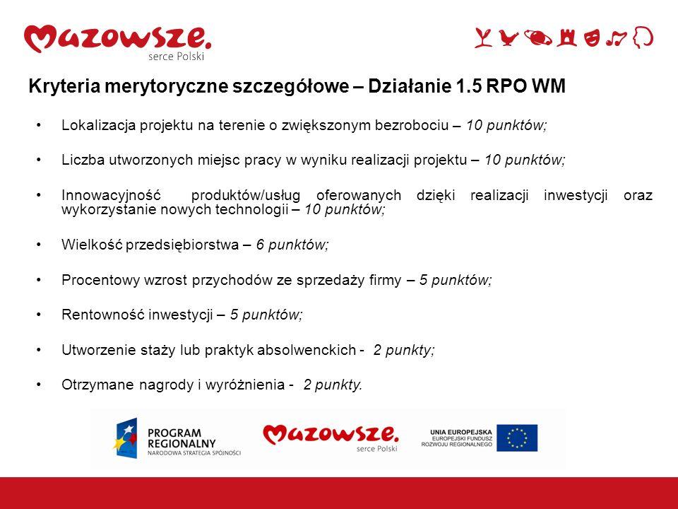Kryteria merytoryczne szczegółowe – Działanie 1.5 RPO WM Lokalizacja projektu na terenie o zwiększonym bezrobociu – 10 punktów; Liczba utworzonych mie
