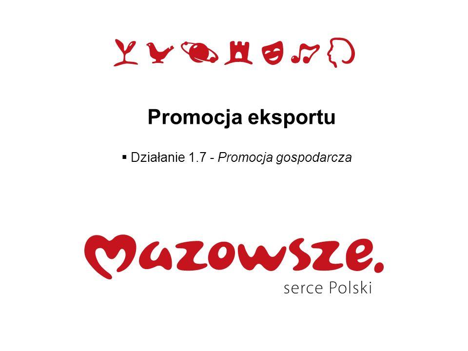 Promocja eksportu Działanie 1.7 - Promocja gospodarcza