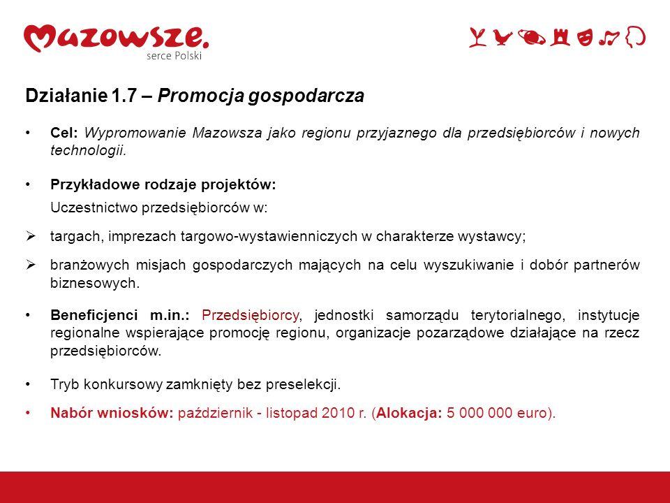 Działanie 1.7 – Promocja gospodarcza Cel: Wypromowanie Mazowsza jako regionu przyjaznego dla przedsiębiorców i nowych technologii. Przykładowe rodzaje