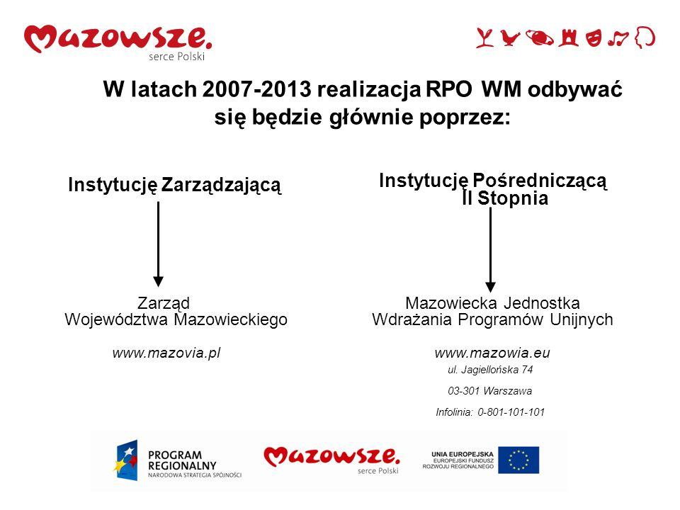7 W latach 2007-2013 realizacja RPO WM odbywać się będzie głównie poprzez: Instytucję Zarządzającą Zarząd Województwa Mazowieckiego www.mazovia.pl Maz