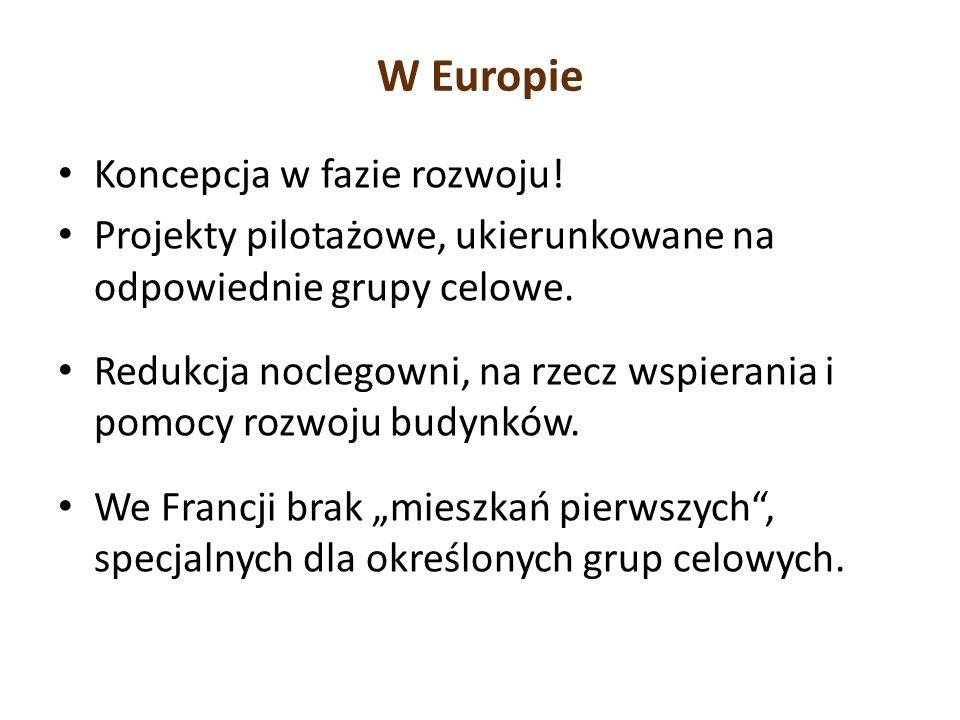 W Europie Koncepcja w fazie rozwoju! Projekty pilotażowe, ukierunkowane na odpowiednie grupy celowe. Redukcja noclegowni, na rzecz wspierania i pomocy