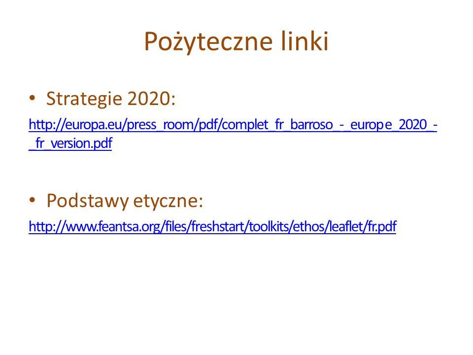 Pożyteczne linki Strategie 2020: http://europa.eu/press_room/pdf/complet_fr_barroso_-_europ e_2020_- _fr_version.pdf Podstawy etyczne: http://www.fean