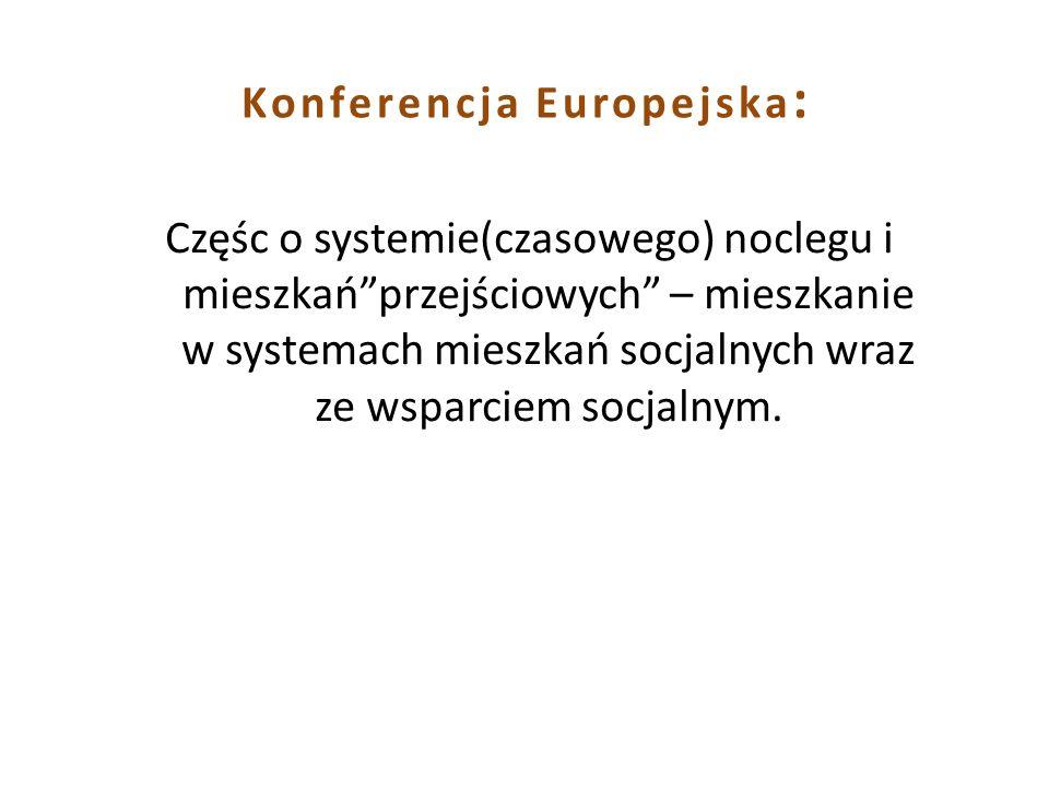 Konferencja Europejska : Częśc o systemie(czasowego) noclegu i mieszkańprzejściowych – mieszkanie w systemach mieszkań socjalnych wraz ze wsparciem so