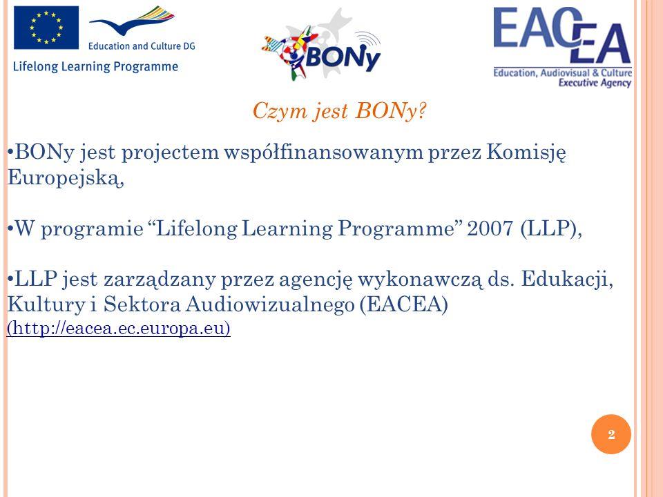 2 BONy jest projectem współfinansowanym przez Komisję Europejską, W programie Lifelong Learning Programme 2007 (LLP), LLP jest zarządzany przez agencj