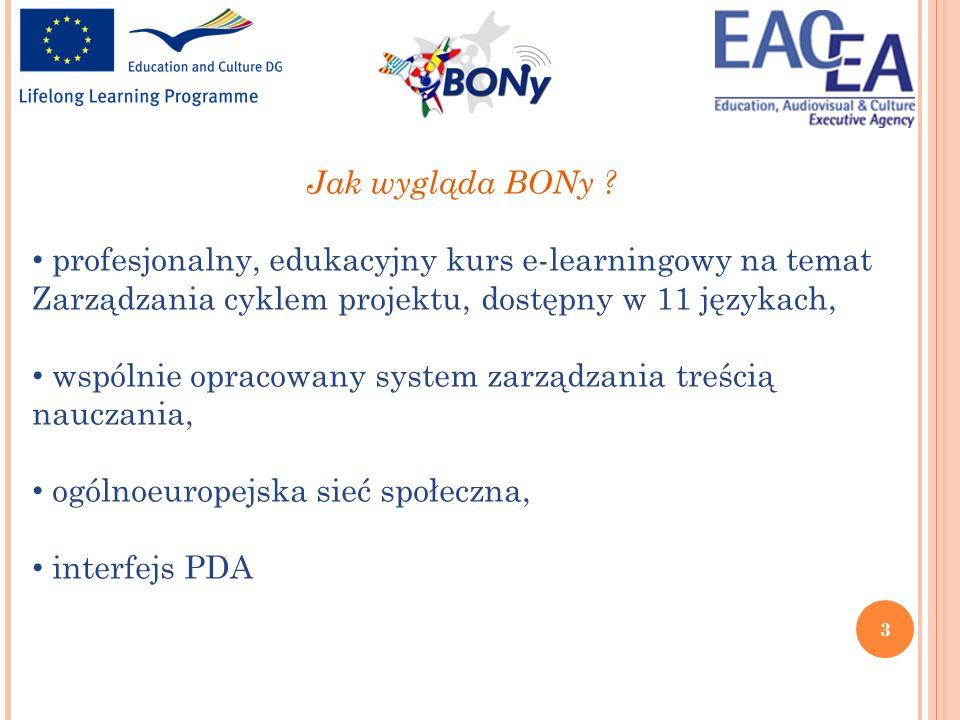 3 Jak wygląda BONy ? profesjonalny, edukacyjny kurs e-learningowy na temat Zarządzania cyklem projektu, dostępny w 11 językach, wspólnie opracowany sy