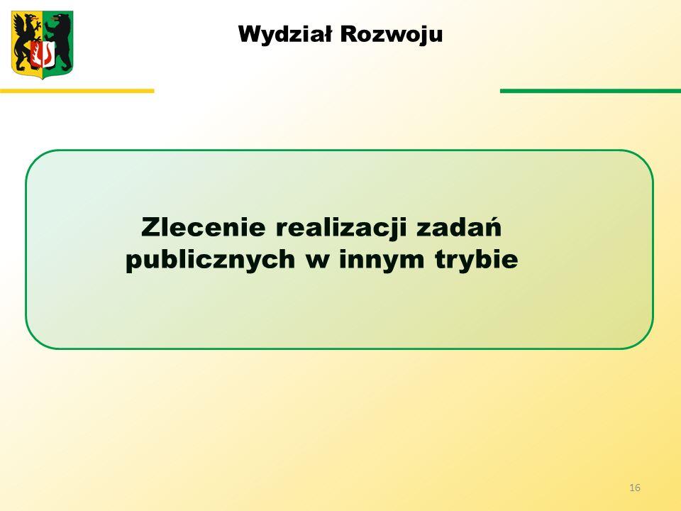 Wydział Rozwoju Zlecenie realizacji zadań publicznych w innym trybie 16
