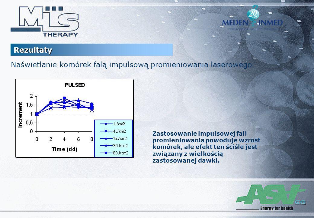 Zastosowanie impulsowej fali promieniowania powoduje wzrost komórek, ale efekt ten ściśle jest związany z wielkością zastosowanej dawki. Naświetlanie