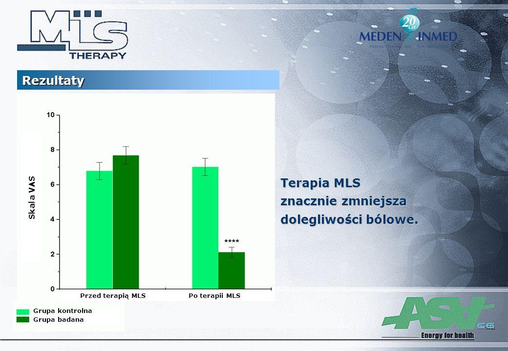 Rezultaty Grupa kontrolna Grupa badana session 10 Skala VAS Przed terapią MLSPo terapii MLS Terapia MLS znacznie zmniejsza dolegliwości bólowe.