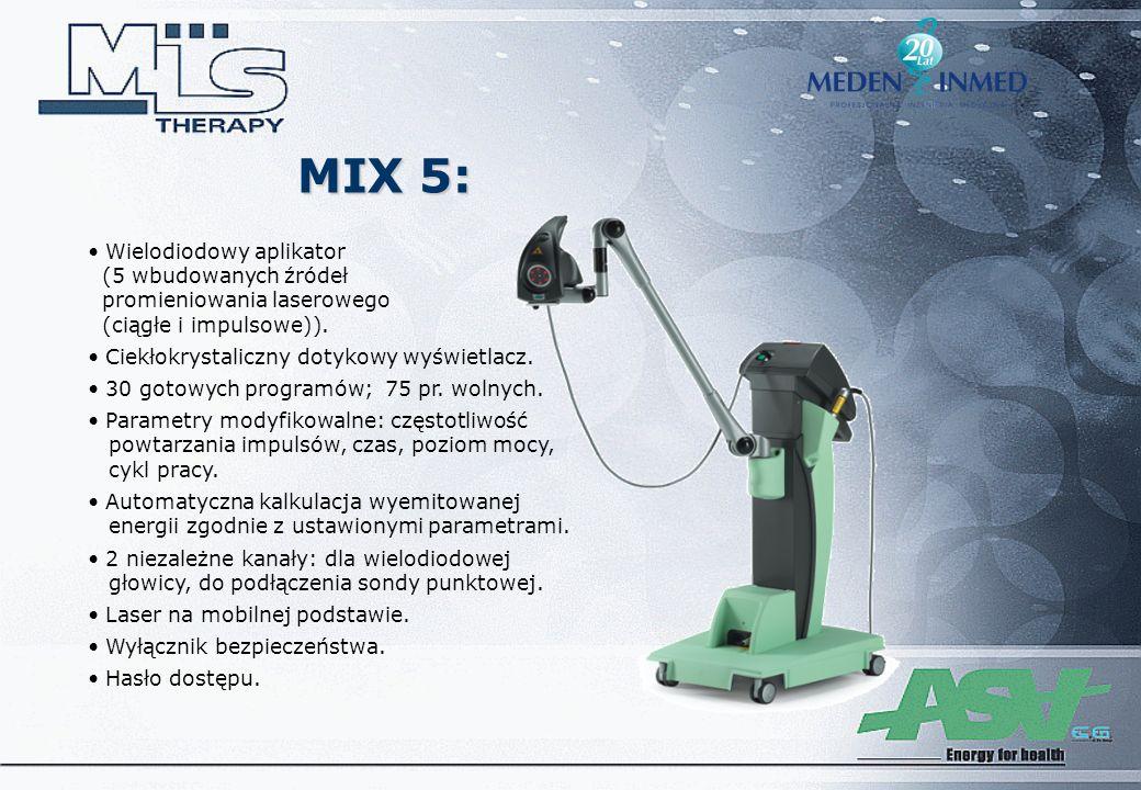 MIX 5: Wielodiodowy aplikator (5 wbudowanych źródeł promieniowania laserowego (ciągłe i impulsowe)). Ciekłokrystaliczny dotykowy wyświetlacz. 30 gotow