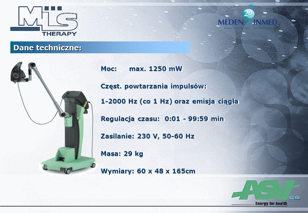 Moc:max. 1250 mW Częst. powtarzania impulsów: 1-2000 Hz (co 1 Hz) oraz emisja ciągła Regulacja czasu: 0:01 - 99:59 min Zasilanie: 230 V, 50-60 Hz Masa