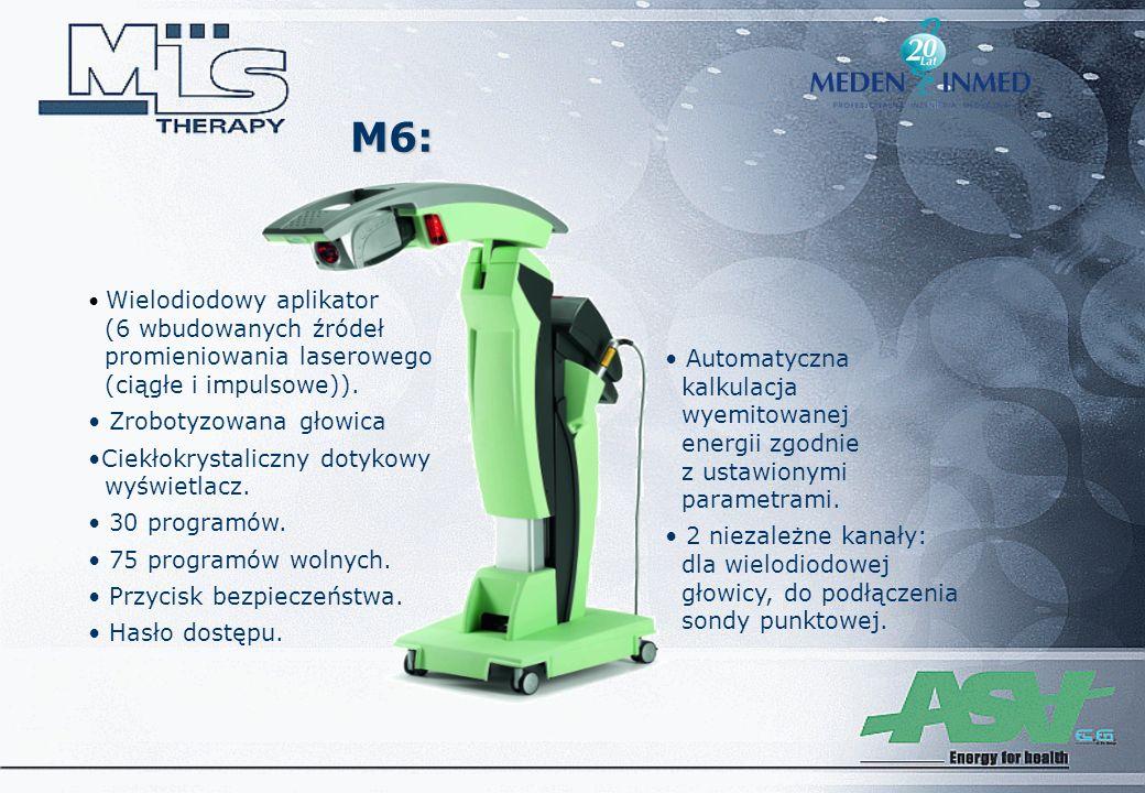 M6: Wielodiodowy aplikator (6 wbudowanych źródeł promieniowania laserowego (ciągłe i impulsowe)). Zrobotyzowana głowica Ciekłokrystaliczny dotykowy wy