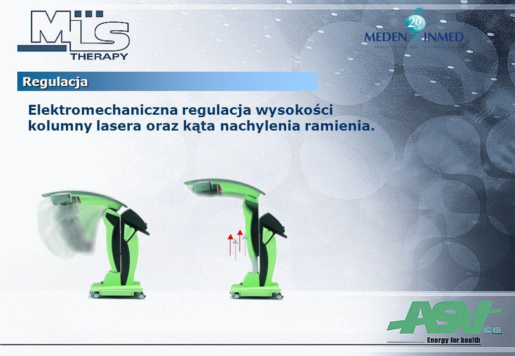 Regulacja Elektromechaniczna regulacja wysokości kolumny lasera oraz kąta nachylenia ramienia.