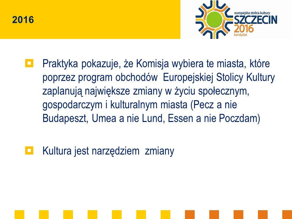 2016 Praktyka pokazuje, że Komisja wybiera te miasta, które poprzez program obchodów Europejskiej Stolicy Kultury zaplanują największe zmiany w życiu społecznym, gospodarczym i kulturalnym miasta (Pecz a nie Budapeszt, Umea a nie Lund, Essen a nie Poczdam) Kultura jest narzędziem zmiany
