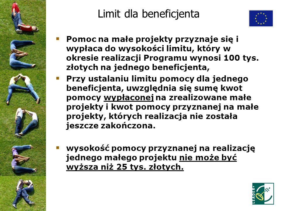Limit dla beneficjenta Pomoc na małe projekty przyznaje się i wypłaca do wysokości limitu, który w okresie realizacji Programu wynosi 100 tys. złotych