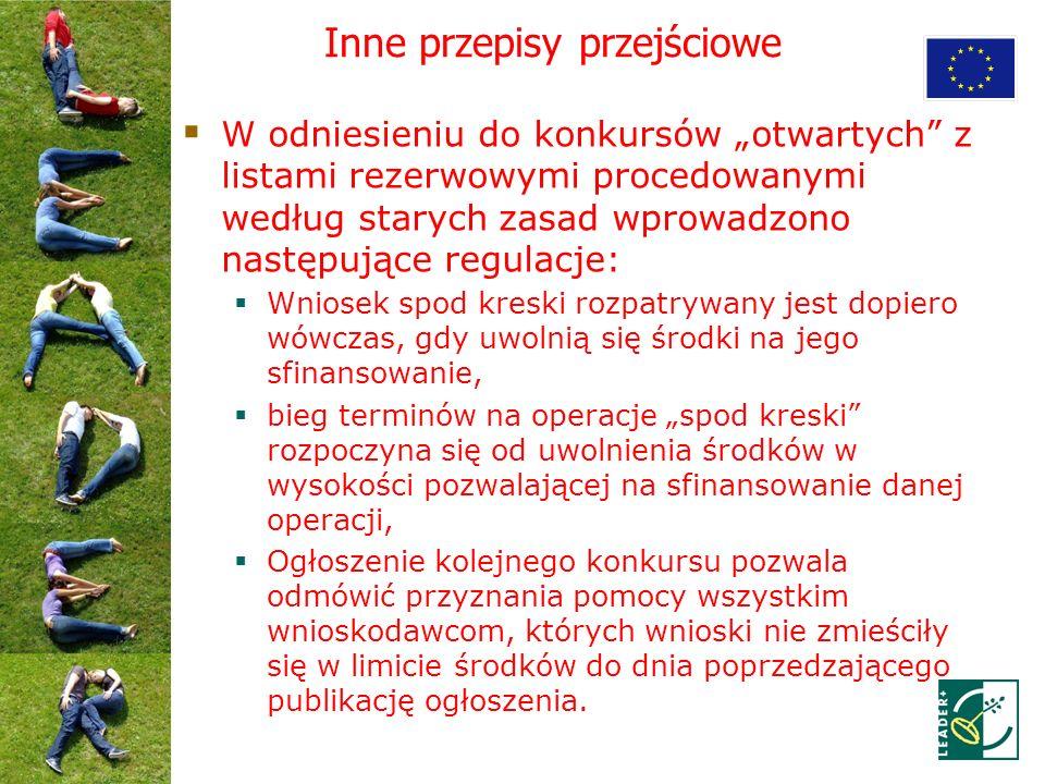Inne przepisy przejściowe W odniesieniu do konkursów otwartych z listami rezerwowymi procedowanymi według starych zasad wprowadzono następujące regula