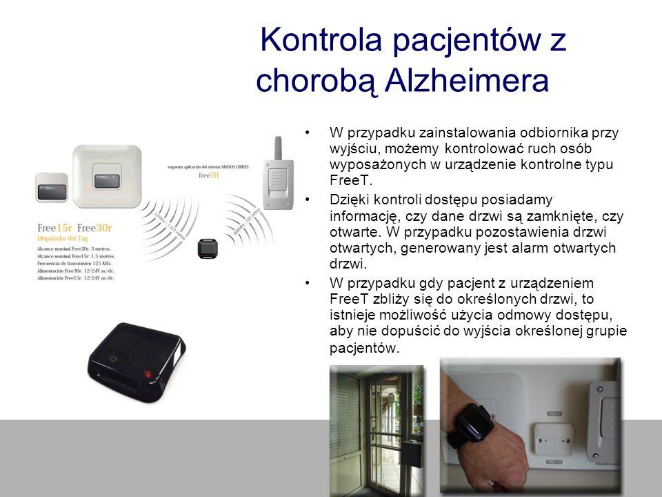 Kontrola pacjentów z chorobą Alzheimera W przypadku zainstalowania odbiornika przy wyjściu, możemy kontrolować ruch osób wyposażonych w urządzenie kon