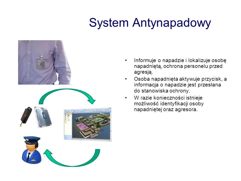 System Antynapadowy Informuje o napadzie i lokalizuje osobę napadniętą, ochrona personelu przed agresją. Osoba napadnięta aktywuje przycisk, a informa