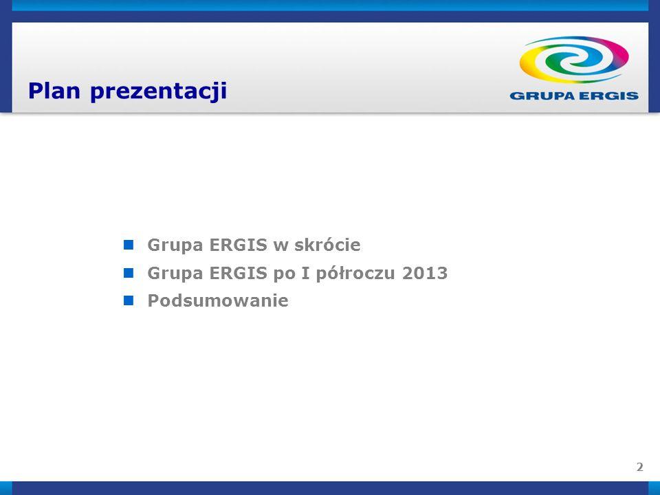 2 Plan prezentacji Grupa ERGIS w skrócie Grupa ERGIS po I półroczu 2013 Podsumowanie