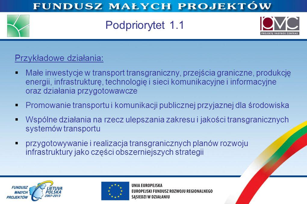 Podpriorytet 1.1 Przykładowe działania: Małe inwestycje w transport transgraniczny, przejścia graniczne, produkcję energii, infrastrukturę, technologi