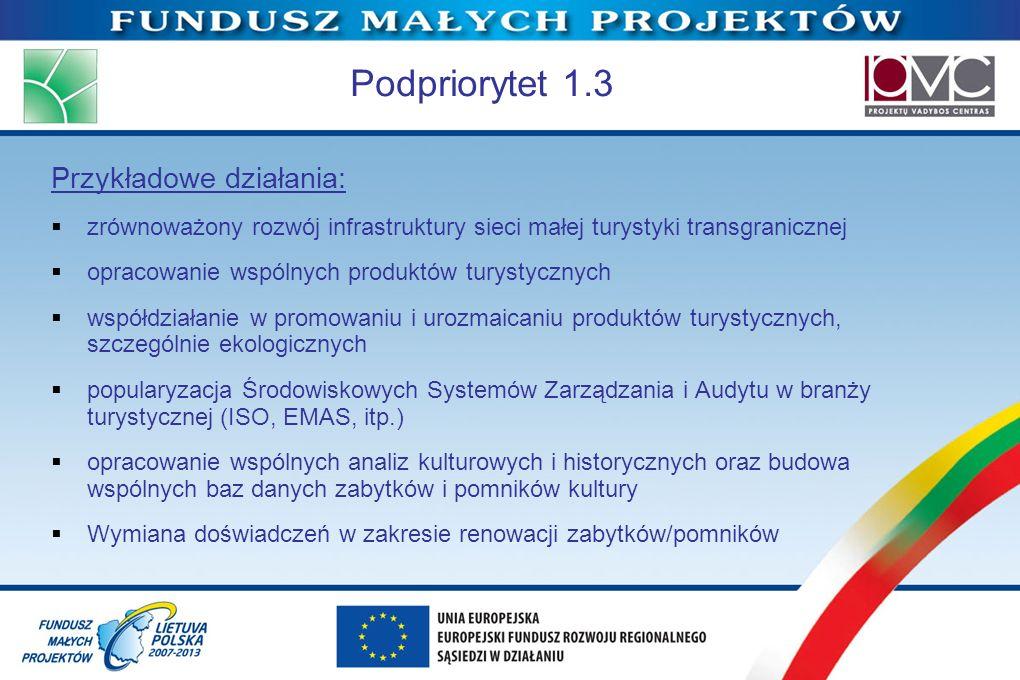 Podpriorytet 1.3 Przykładowe działania: zrównoważony rozwój infrastruktury sieci małej turystyki transgranicznej opracowanie wspólnych produktów turys