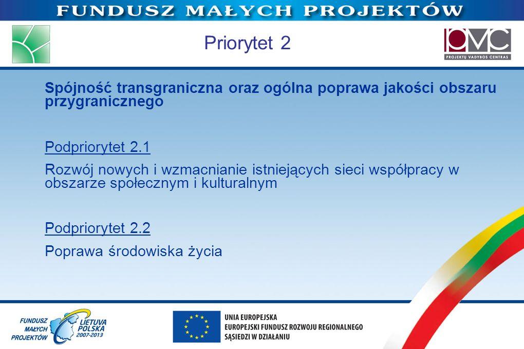 Priorytet 2 Spójność transgraniczna oraz ogólna poprawa jakości obszaru przygranicznego Podpriorytet 2.1 Rozwój nowych i wzmacnianie istniejących siec