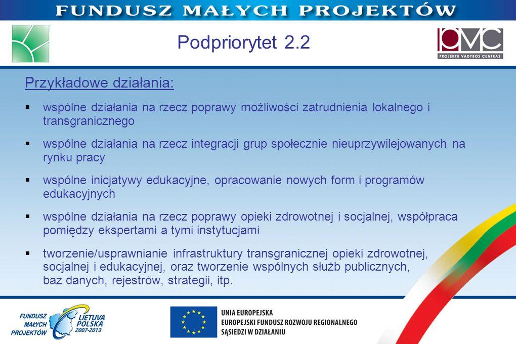 Podpriorytet 2.2 Przykładowe działania: wspólne działania na rzecz poprawy możliwości zatrudnienia lokalnego i transgranicznego wspólne działania na r