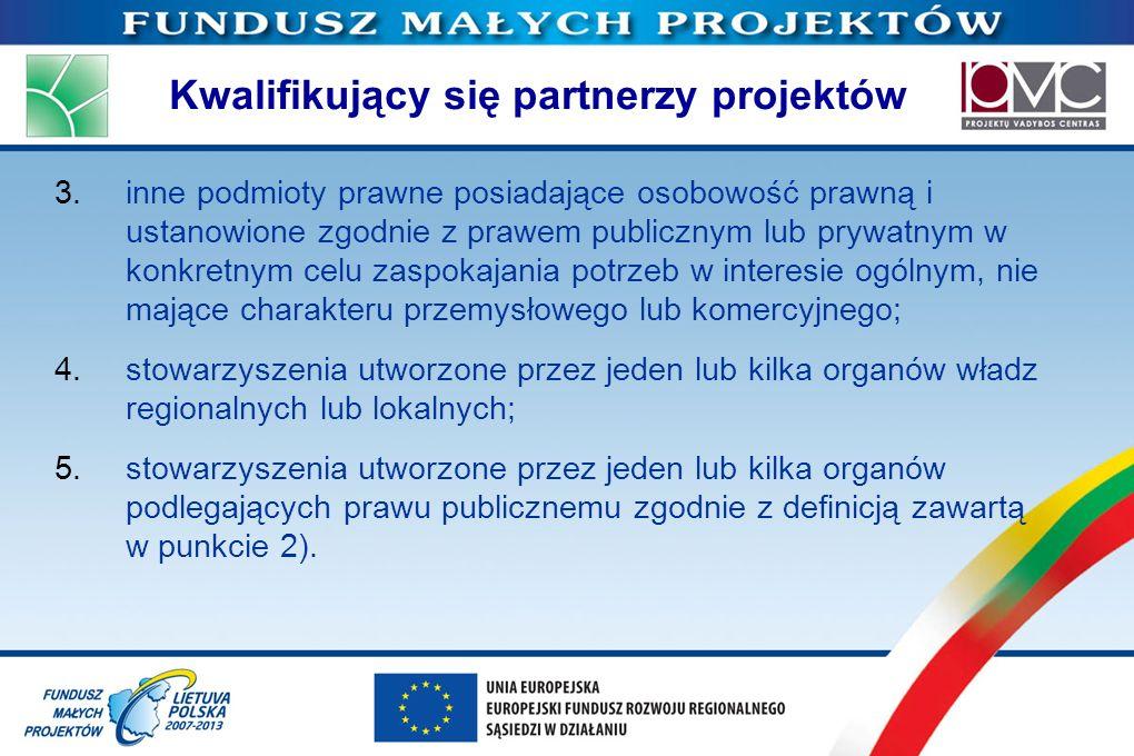 Kwalifikujący się partnerzy projektów 3.inne podmioty prawne posiadające osobowość prawną i ustanowione zgodnie z prawem publicznym lub prywatnym w ko